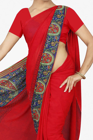Designer Saree:atisundar Superb Designer Saree in Faux Georgette in Red  - 11664 - atisundar - 2