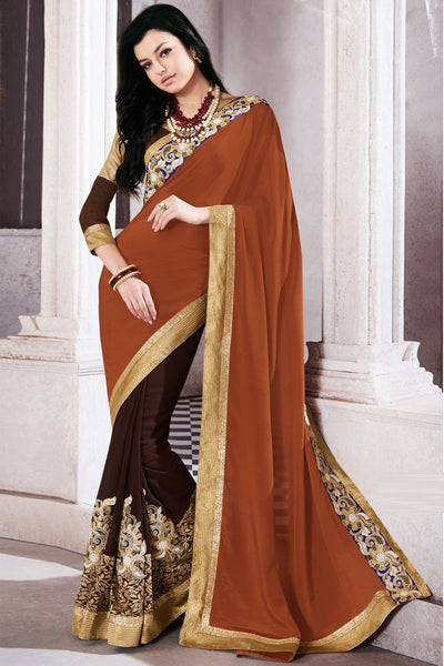 Designer Saree:atisundar elegant Party wear Sarees with designer blouses and embroidered border in Brown And Dark Brown  - 10761 - atisundar - 3 - click to zoom