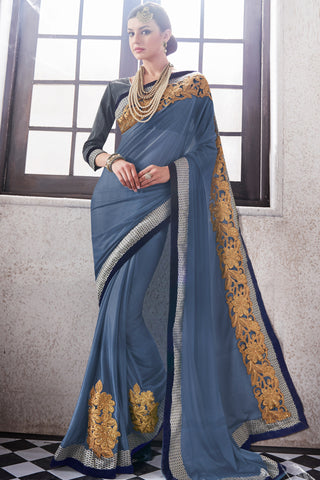 Designer Saree:atisundar fascinating Party wear Sarees with designer blouses and embroidered border in Blue Grey  - 10762 - atisundar - 3 - click to zoom