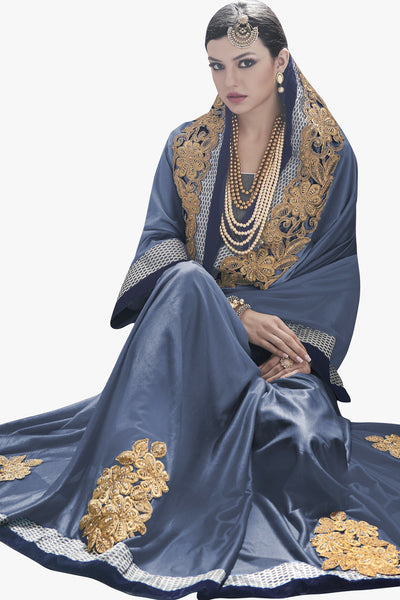 Designer Saree:atisundar fascinating Party wear Sarees with designer blouses and embroidered border in Blue Grey  - 10762 - click to zoom