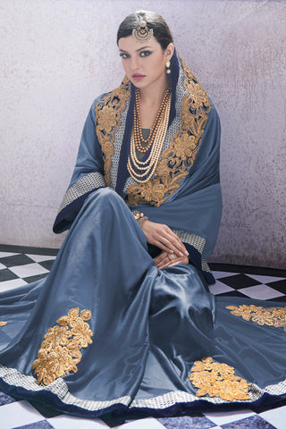 Designer Saree:atisundar fascinating Party wear Sarees with designer blouses and embroidered border in Blue Grey  - 10762 - atisundar - 4 - click to zoom