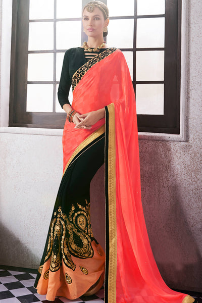 Designer Saree:atisundar Attractive Party wear Sarees with designer blouses and embroidered border in Pink And Black  - 10763 - atisundar - 3 - click to zoom