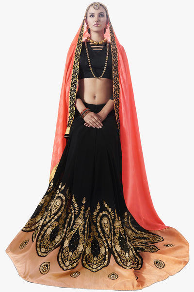 Designer Saree:atisundar Attractive Party wear Sarees with designer blouses and embroidered border in Pink And Black  - 10763 - atisundar - 2 - click to zoom