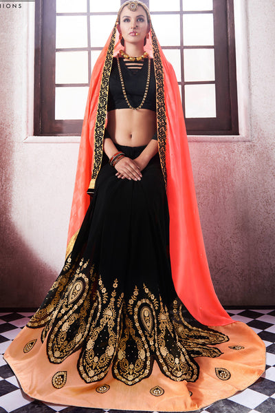 Designer Saree:atisundar Attractive Party wear Sarees with designer blouses and embroidered border in Pink And Black  - 10763 - atisundar - 4 - click to zoom