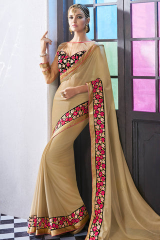 Designer Saree:atisundar appealing Party wear Sarees with designer blouses and embroidered border in Cream  - 10764 - atisundar - 3 - click to zoom