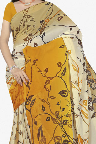 Designer Saree:atisundar beauteous Designer Saree in Faux Georgette in Yellow  - 11666 - atisundar - 2