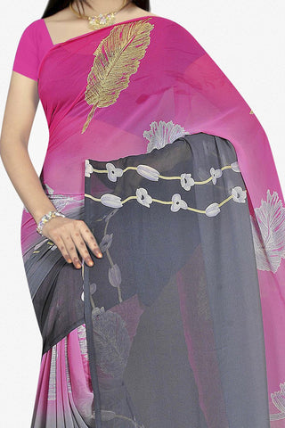 Designer Saree:atisundar superb Designer Saree in Faux Georgette in Pink And Grey  - 11667 - atisundar - 2