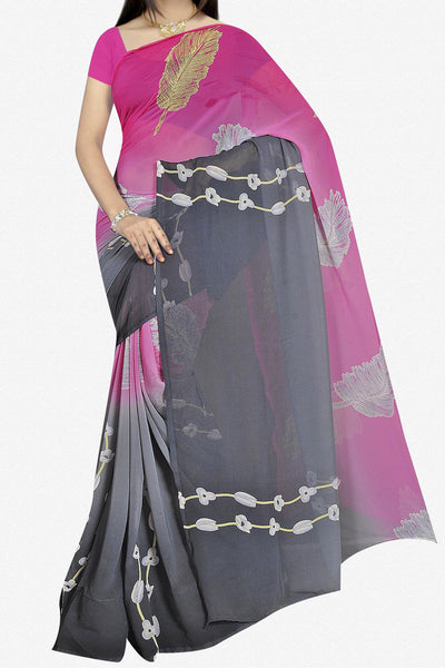 Designer Saree:atisundar superb Designer Saree in Faux Georgette in Pink And Grey  - 11667 - atisundar - 1 - click to zoom
