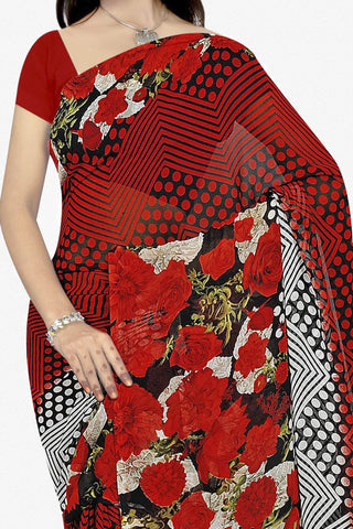 Designer Saree:atisundar classy Designer Saree in Faux Georgette in Red  - 11671 - atisundar - 2