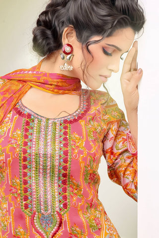 Designer Straight Cut:atisundar Attractive Orange Designer Party Wear Straight Cut - 12986