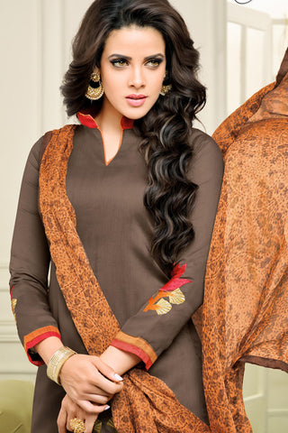 Designer Straight Cut:atisundar pretty Brown Designer Straight Cut Suit In Chanderi Cotton - 10477 - atisundar - 5