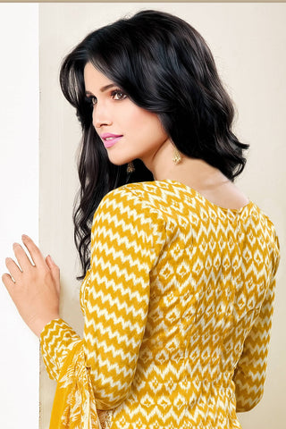 Designer Straight Cut:atisundar Smart Yellow Designer Party Wear Straight Cut - 12992