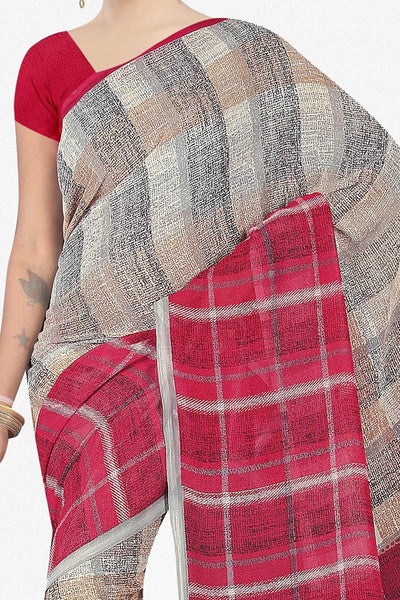 Designer Saree:atisundar cute Designer Saree in Faux Georgette in Pink And Grey  - 11676 - click to zoom