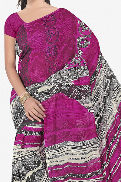 Designer Saree:atisundar appealing Designer Saree in Faux Georgette in Purple And Grey  - 11677 - click to zoom