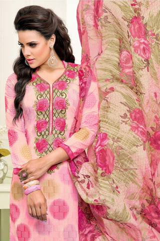 Designer Straight Cut:atisundar Awesome Light Pink Designer Straight Cut Suit In Chanderi Cotton - 10478 - atisundar - 4