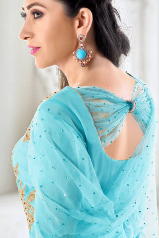 Designer Straight Cut:atisundar cute Blue Designer Embroidered Straight Cut Featuring Karishma Kapoor - 12722