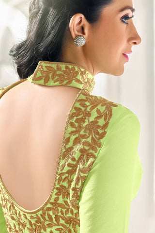 Designer Straight Cut:atisundar ravishing Green Designer Embroidered Straight Cut Featuring Karishma Kapoor - 12723