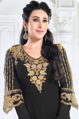 Designer Straight Cut:atisundar admirable Black Designer Embroidered Straight Cut Featuring Karishma Kapoor - 12725
