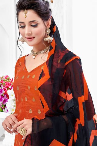 Designer Straight Cut:atisundar Superb Orange Designer Party Wear Straight Cut - 13597