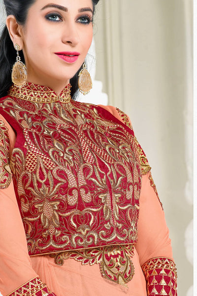 Designer Anarkali:atisundar elegant Peach Designer Party Wear Embroidered Anarkali Featuring Karishma Kapoor - 12729 - click to zoom