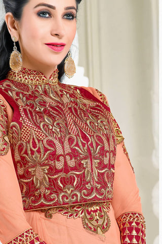 Designer Anarkali:atisundar elegant Peach Designer Party Wear Embroidered Anarkali Featuring Karishma Kapoor - 12729