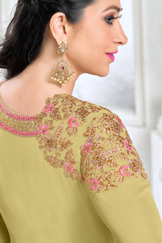 Designer Straight Cut:atisundar enticing Green Designer Embroidered Straight Cut Featuring Karishma Kapoor - 12726
