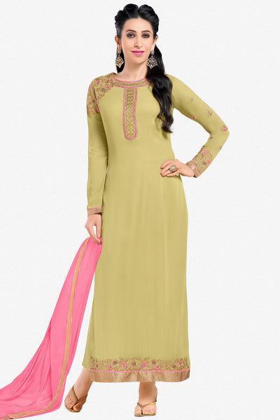 Designer Straight Cut:atisundar enticing Green Designer Embroidered Straight Cut Featuring Karishma Kapoor - 12726 - click to zoom