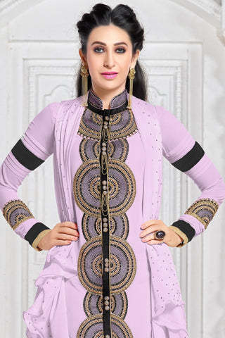 Designer Straight Cut:atisundar charming Purple Designer Embroidered Straight Cut Featuring Karishma Kapoor - 12727