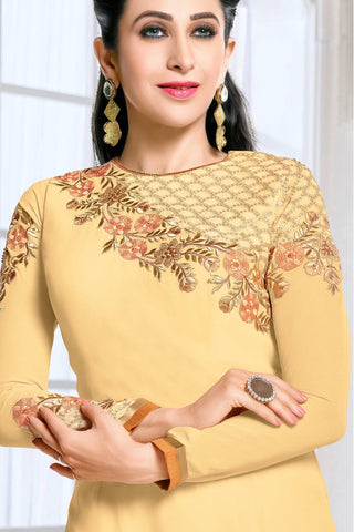 Designer Straight Cut:atisundar delightful Yellow Designer Embroidered Straight Cut Featuring Karishma Kapoor - 12728