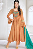Designer Anarkali:atisundar Awesome Brown Designer Party Wear Embroidered Anarkali Featuring Karishma Kapoor - 12730 - click to zoom