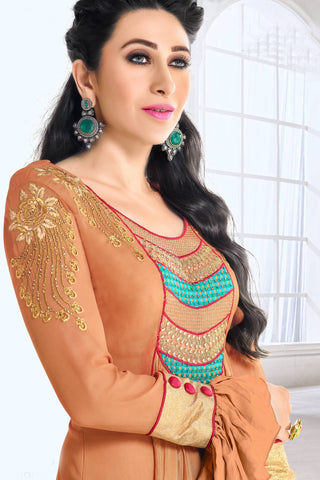 Designer Anarkali:atisundar Awesome Brown Designer Party Wear Embroidered Anarkali Featuring Karishma Kapoor - 12730