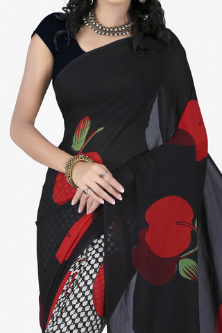 Designer Saree:atisundar dazzling Designer Saree in Faux Georgette in Black  - 11680 - atisundar - 2