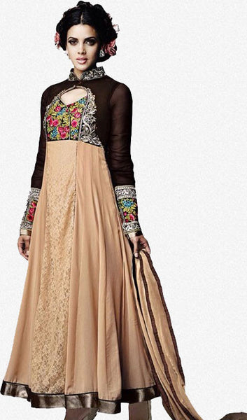 Designer Embroidered Lehenga :atisundar stunning Georgette Designer Embroidered Anarkali in Black And Beige - 9010 - atisundar - 1 - click to zoom