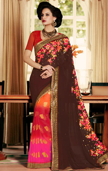 Designer Embroidered Saree:atisundar marvelous Designer Embroidery Saree in Brown  - 8601 - atisundar - 1 - click to zoom