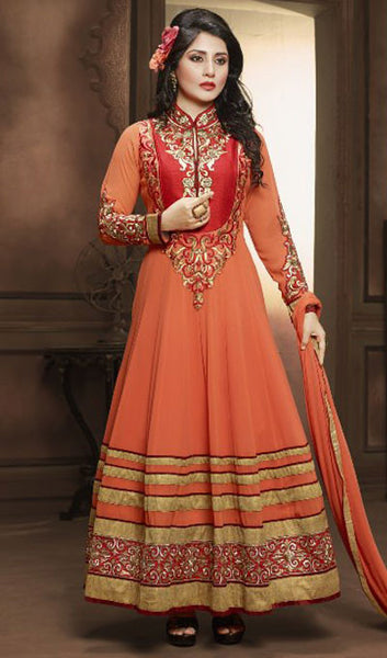 The Rimi Sen Collection:atisundar Charismatic Orange Designer Embroidered Anarkali - 8920 - atisundar - 1 - click to zoom