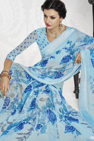 Designer Partywear Saree:atisundar radiant Designer Printed Saree with Fancy Border in Satin Georgette in Sky Blue  - 10766 - atisundar - 5 - click to zoom