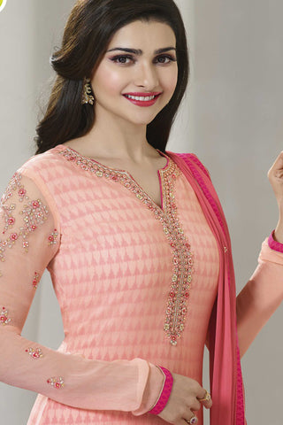 The Prachi Desai Collection:atisundar enticing Peach Designer Embroidered Partywear Suits in Straight Cut - 10500 - atisundar - 6