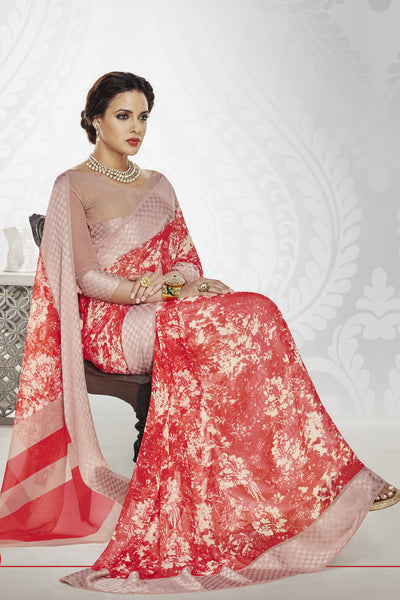 Designer Party wear Saree:atisundar dazzling Designer Printed Saree with Fancy Border in Satin Georgette in Red And Cream  - 10768 - atisundar - 4 - click to zoom