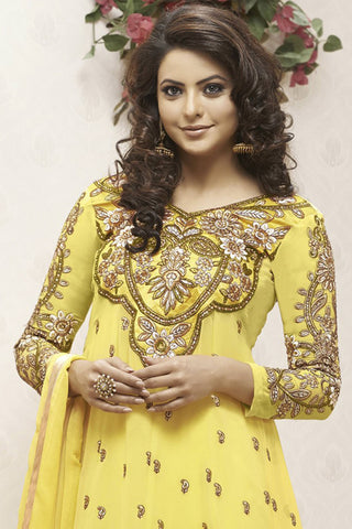 Heeba Party Wear Anarkali Featuring Aamna Sharif:atisundar resplendent   in Yellow - 5104 - atisundar - 4