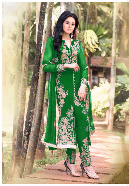 Designer Straight Cut!:atisundar Lovely Sea Green Designer Straight Cut  - 7627 - atisundar - 1 - click to zoom