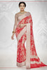 Designer Party wear Saree:atisundar dazzling Designer Printed Saree with Fancy Border in Satin Georgette in Red And Cream  - 10768 - atisundar - 5 - click to zoom