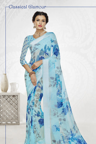 Designer Partywear Saree:atisundar radiant Designer Printed Saree with Fancy Border in Satin Georgette in Sky Blue  - 10766 - atisundar - 4 - click to zoom