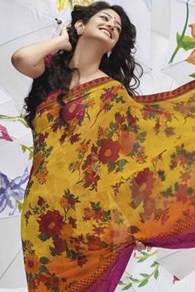 Jhoomta Sawan Designer Printed Saree Collection:atisundar   delicate Designer Printed Saree in Yellow  - 5317 - atisundar - 5 - click to zoom