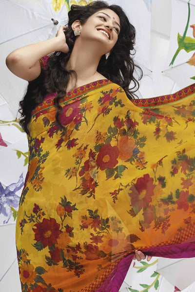 Jhoomta Sawan Designer Printed Saree Collection:atisundar   delicate Designer Printed Saree in Yellow  - 5317 - atisundar - 4 - click to zoom