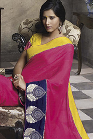 Florence:Lovely Pink Colored Designer Embroidery Saree Saree - 4286 - atisundar - 4