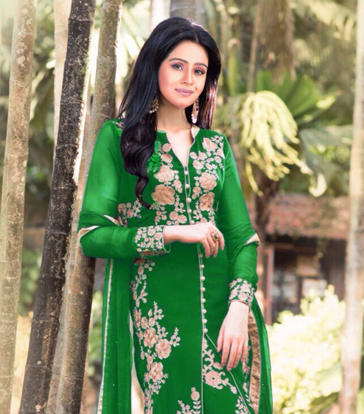 Designer Straight Cut!:atisundar Lovely Sea Green Designer Straight Cut  - 7627 - atisundar - 2 - click to zoom