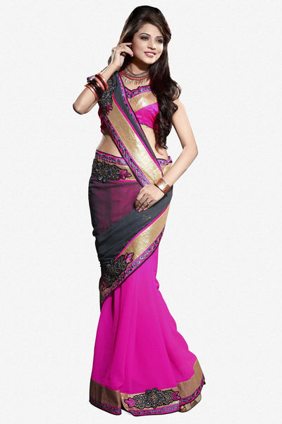 Designer Saree!:atisundar pretty Designer Party Wear Sarees in Gray And Pink  - 7496 - click to zoom