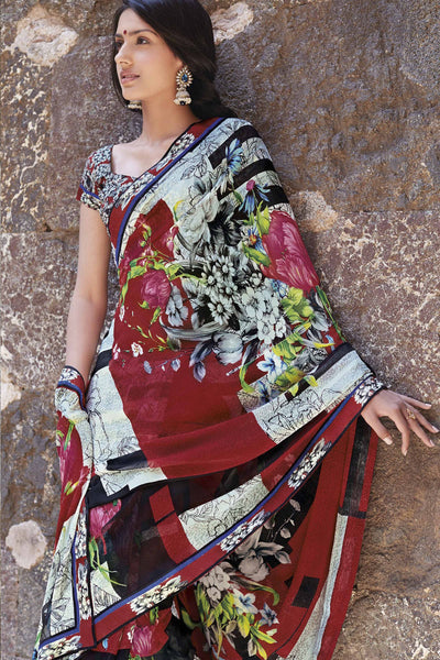 Kabiree:atisundar   fair Printed Designer Saree with Border in Red  - 4483 - atisundar - 1 - click to zoom