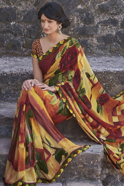 Kabiree:atisundar   fascinating Printed Designer Saree with Border in Firebrick  - 4486 - atisundar - 1 - click to zoom