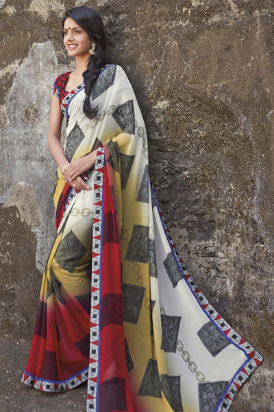 Kabiree:atisundar   charming Printed Designer Saree with Border in Red  - 4478 - atisundar - 1 - click to zoom